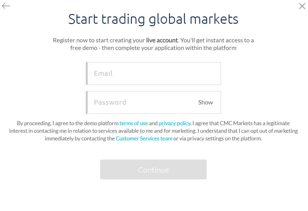 CMC Markets Review - Entering an email and password