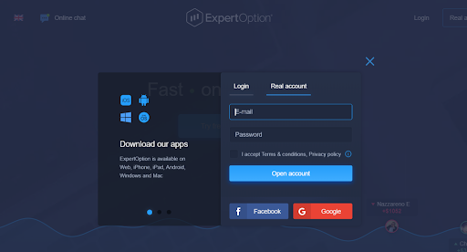 Expert Option Review - Open an account