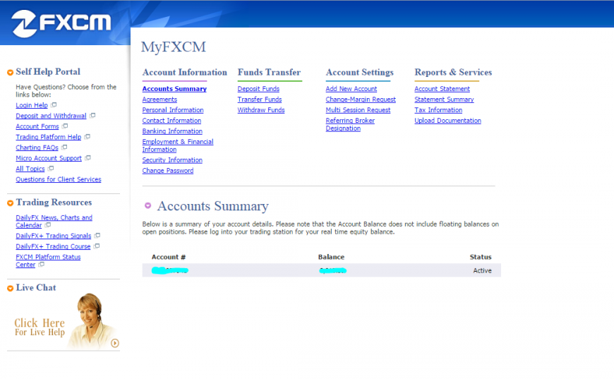 FXCM - Personal account