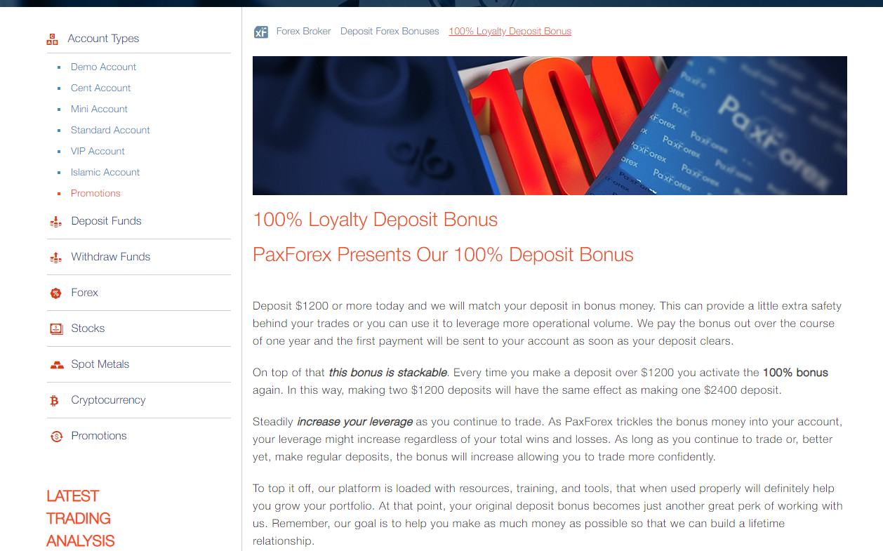 PaxForex Review - 100% bonus for deposits